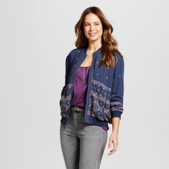 530745b7a NWT Knox Rose Women's Embroidered Bomber Jacket Boutique